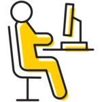 Illustration of a person seated at a workstation.