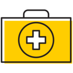 Illustration of a medical kit.