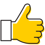 Illustration of hand with thumb up.