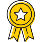 Illustration of prize ribbon.